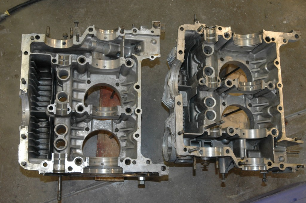 Porsche 2.0 engine case halves cleaned for assembly