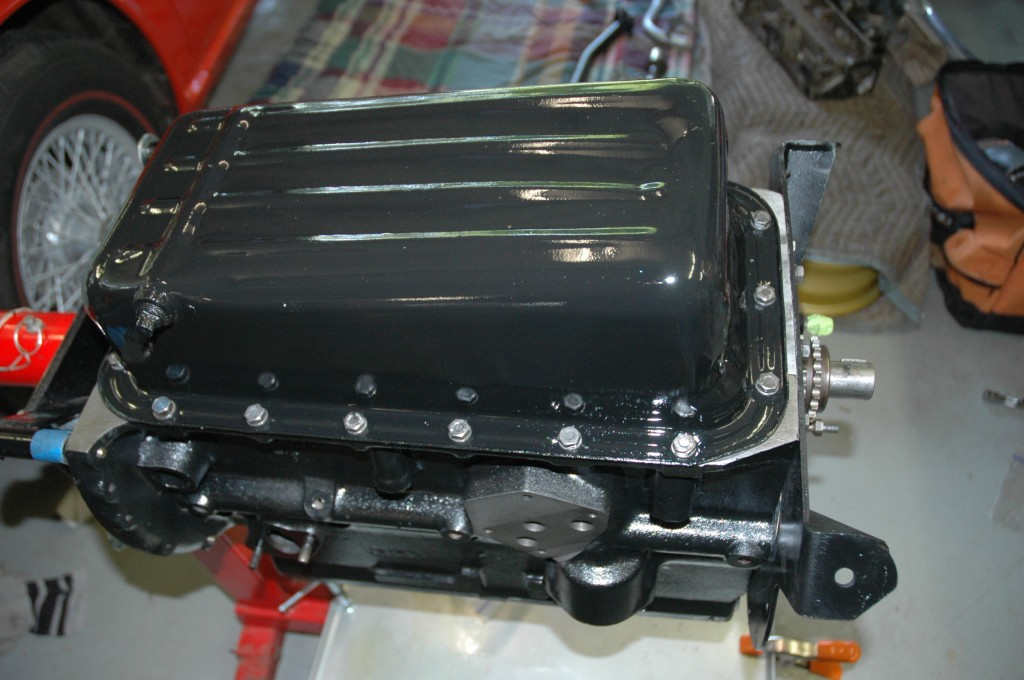 Triumph TR4A rebuilt engine oil pan installed